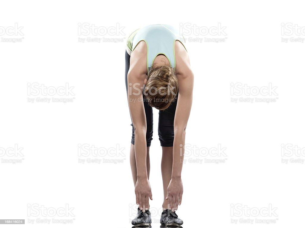 Woman exercise stretching workout stock photo