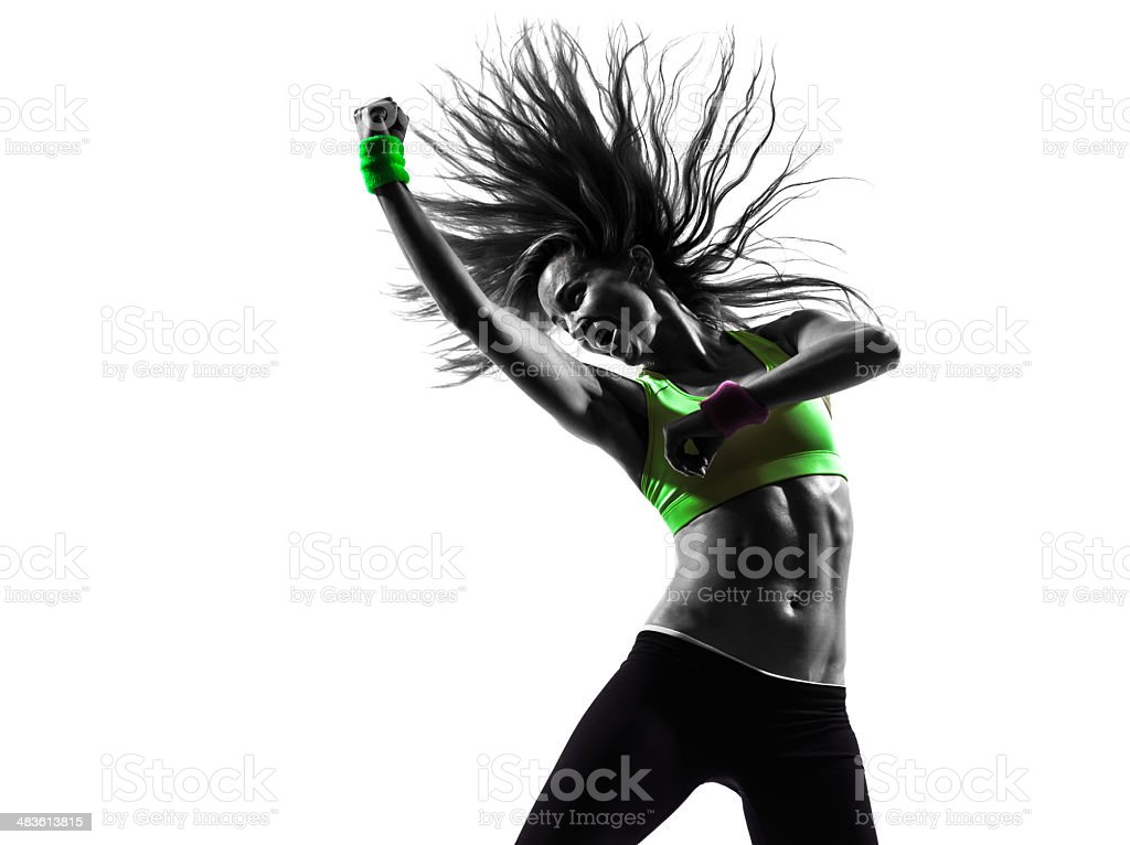 woman exercising fitness dancing silhouette stock photo