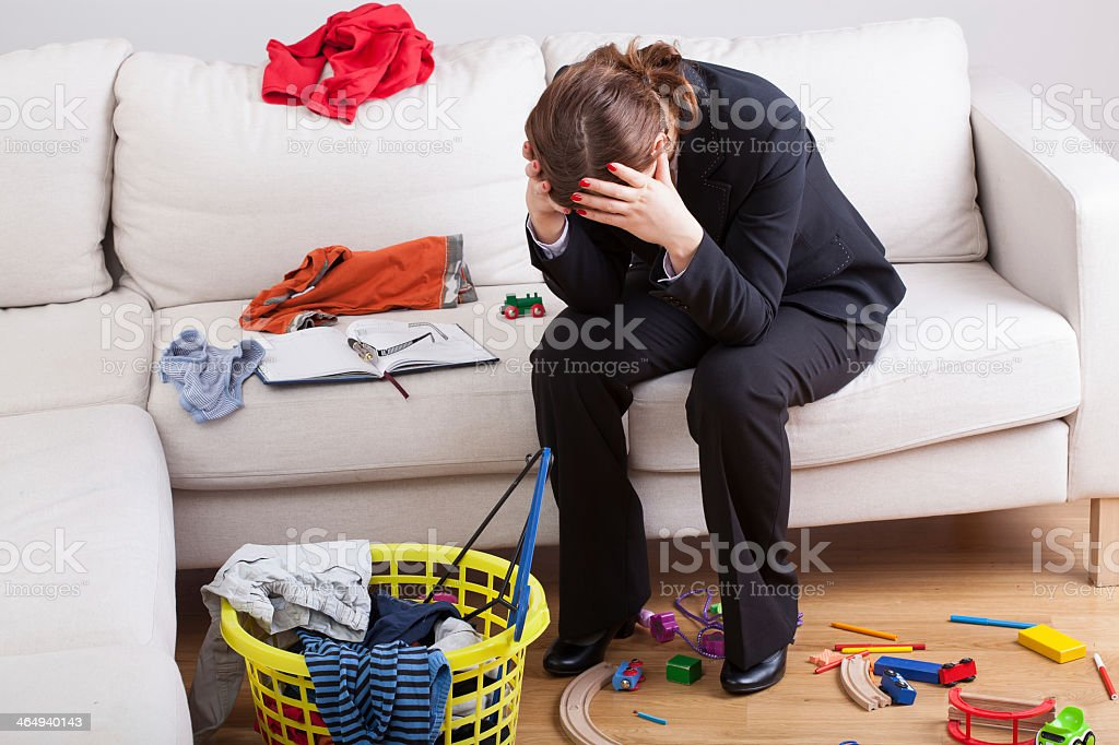 Woman exhausted of her life stock photo