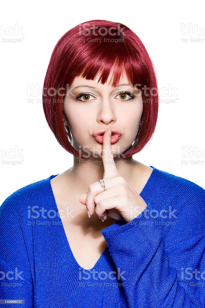 woman expression - hush royalty-free stock photo