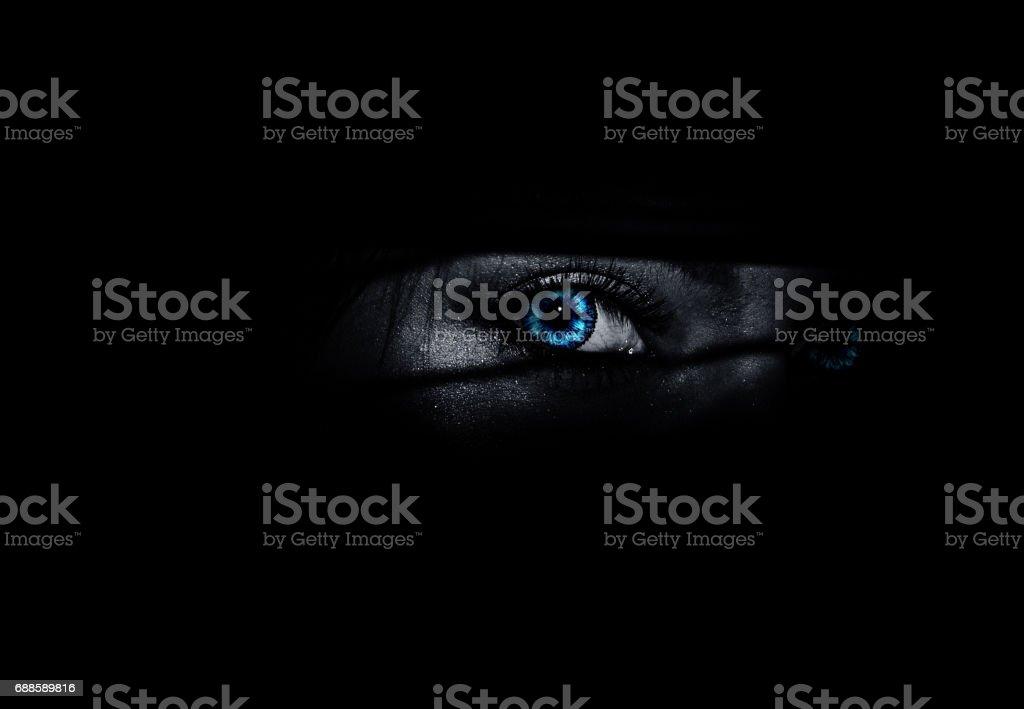 Woman eye feeling fear stock photo