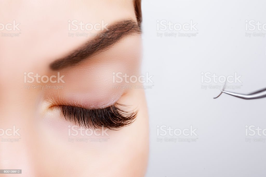 Woman Eye with Long Eyelashes. Eyelash Extension. Lashes, close up, stock photo