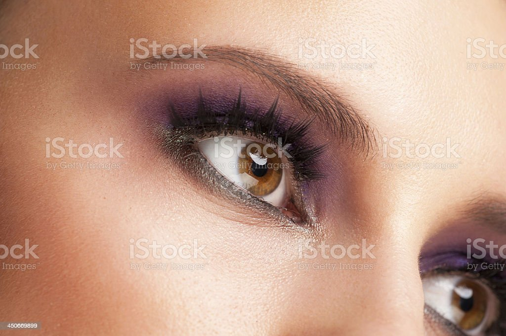 Woman eye with makeup stock photo