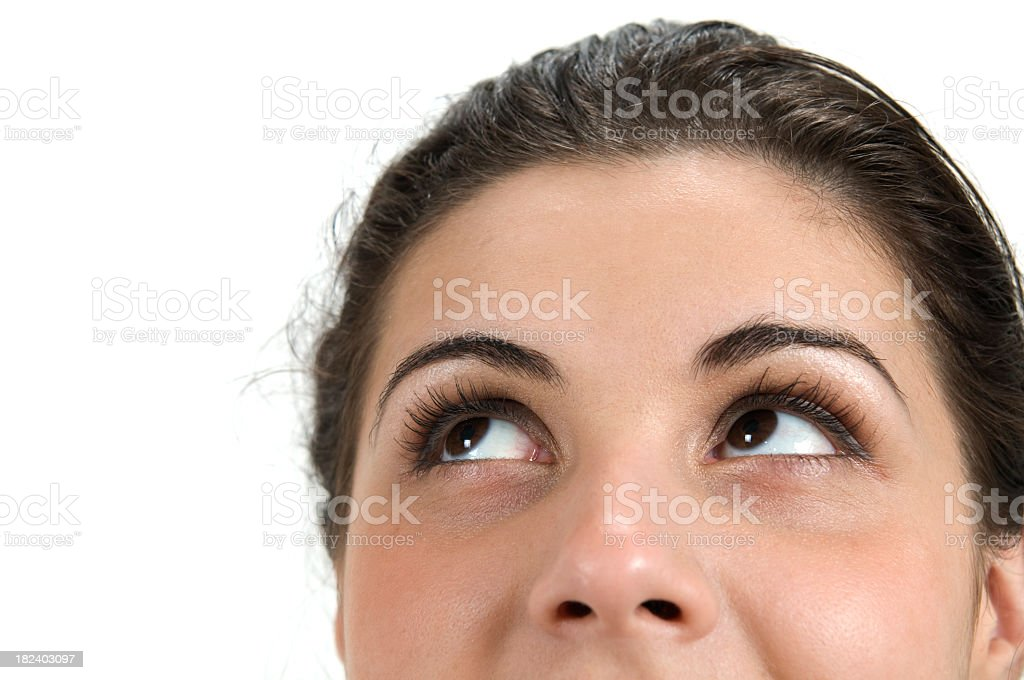 Woman eyes, looking up royalty-free stock photo