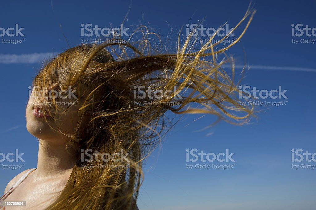 woman face  a flowing hair royalty-free stock photo