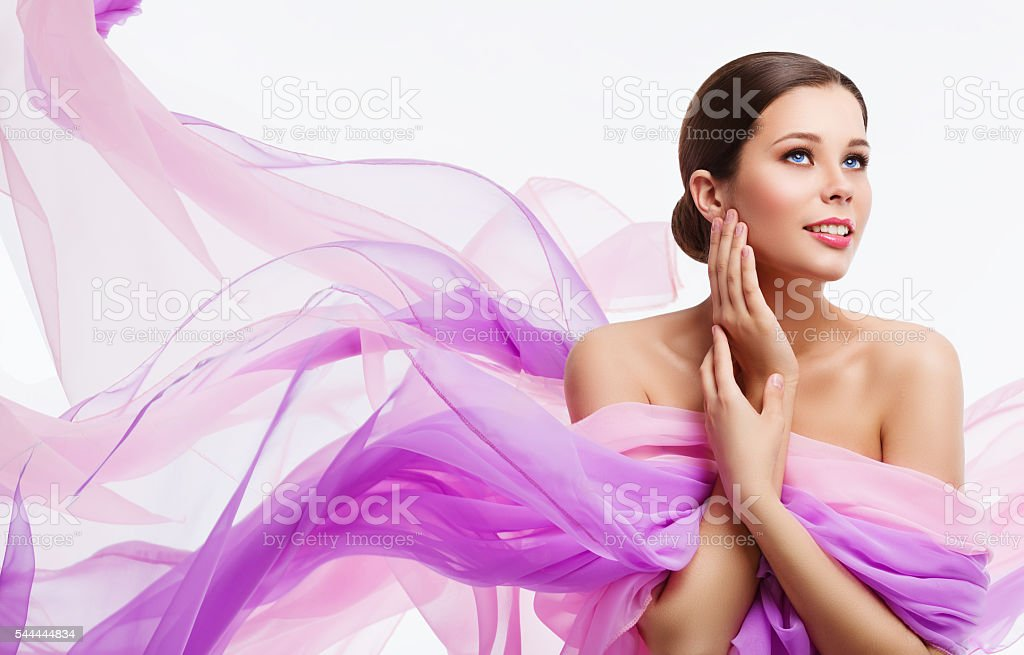 Woman Face Beauty, Fashion Model Waving Fabric, Silk Cloth, White stock photo