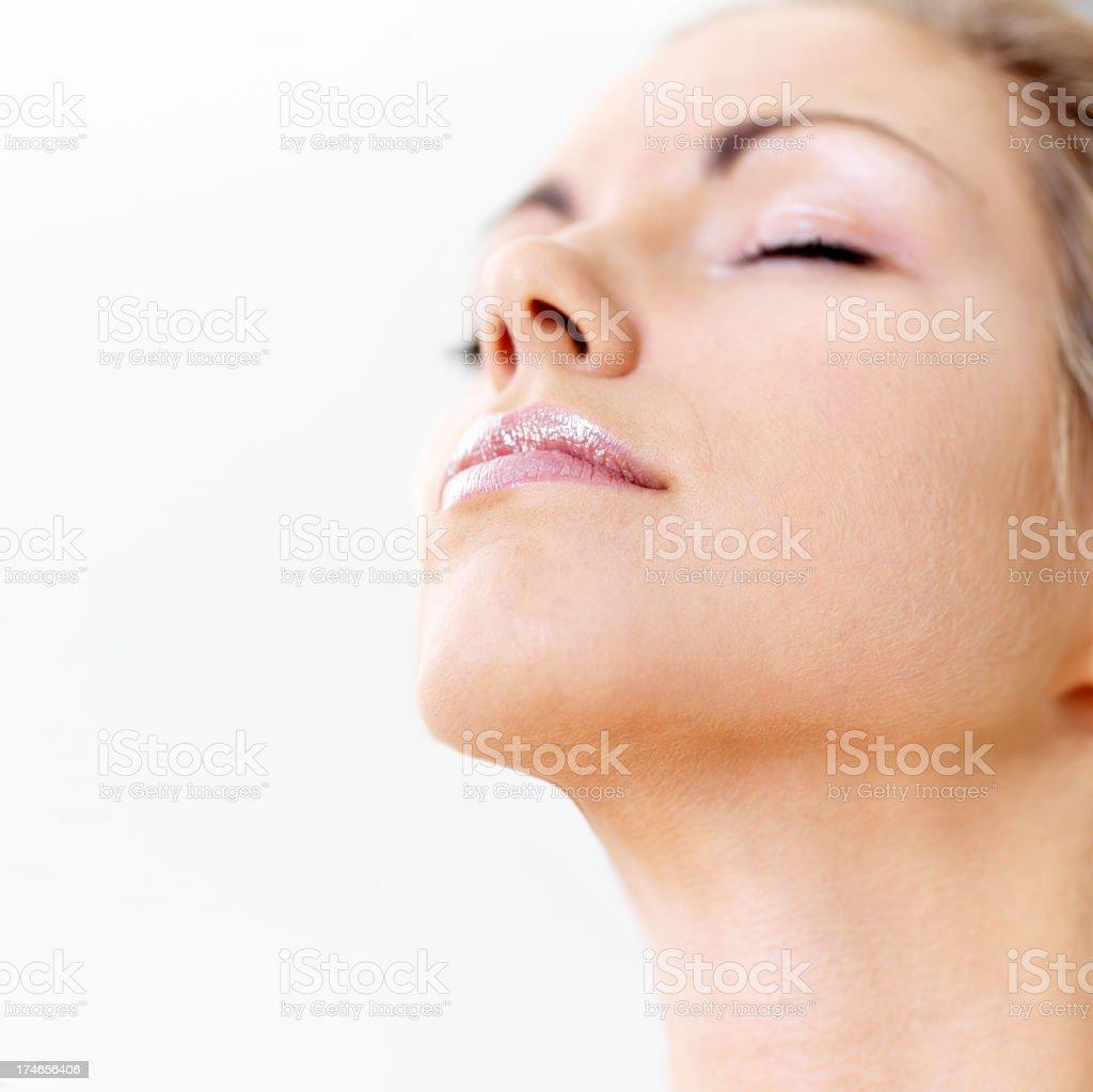 Woman face closeup royalty-free stock photo