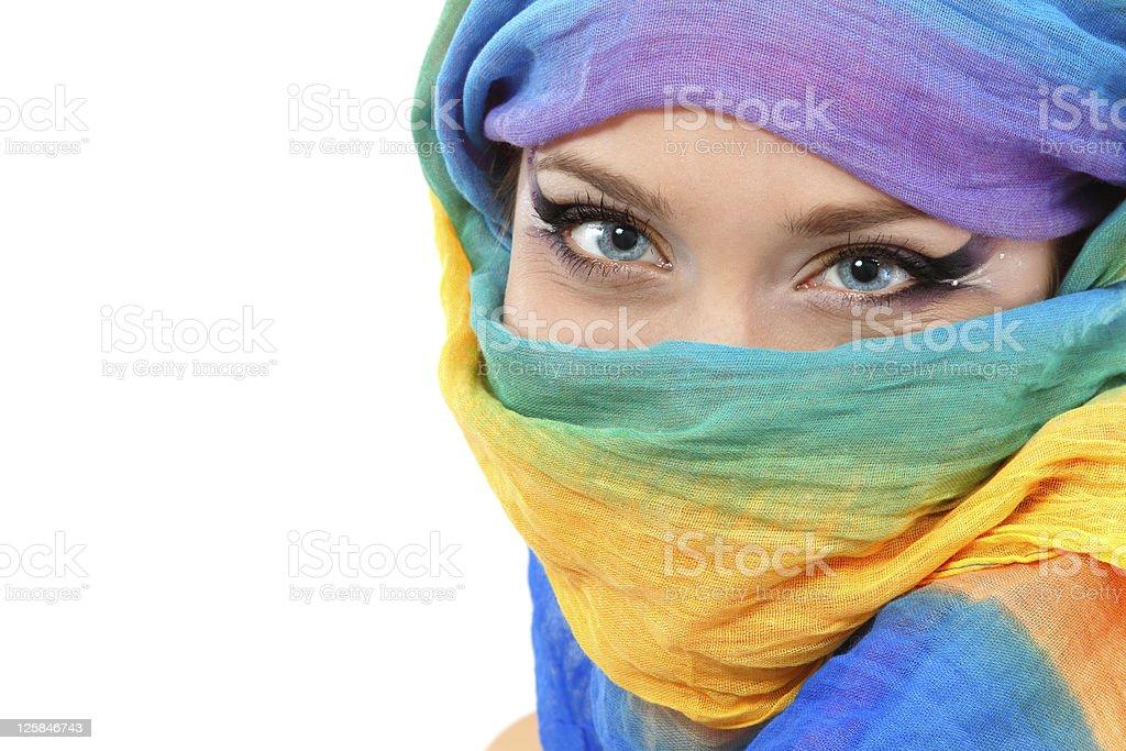 woman face closeup with shawl stock photo