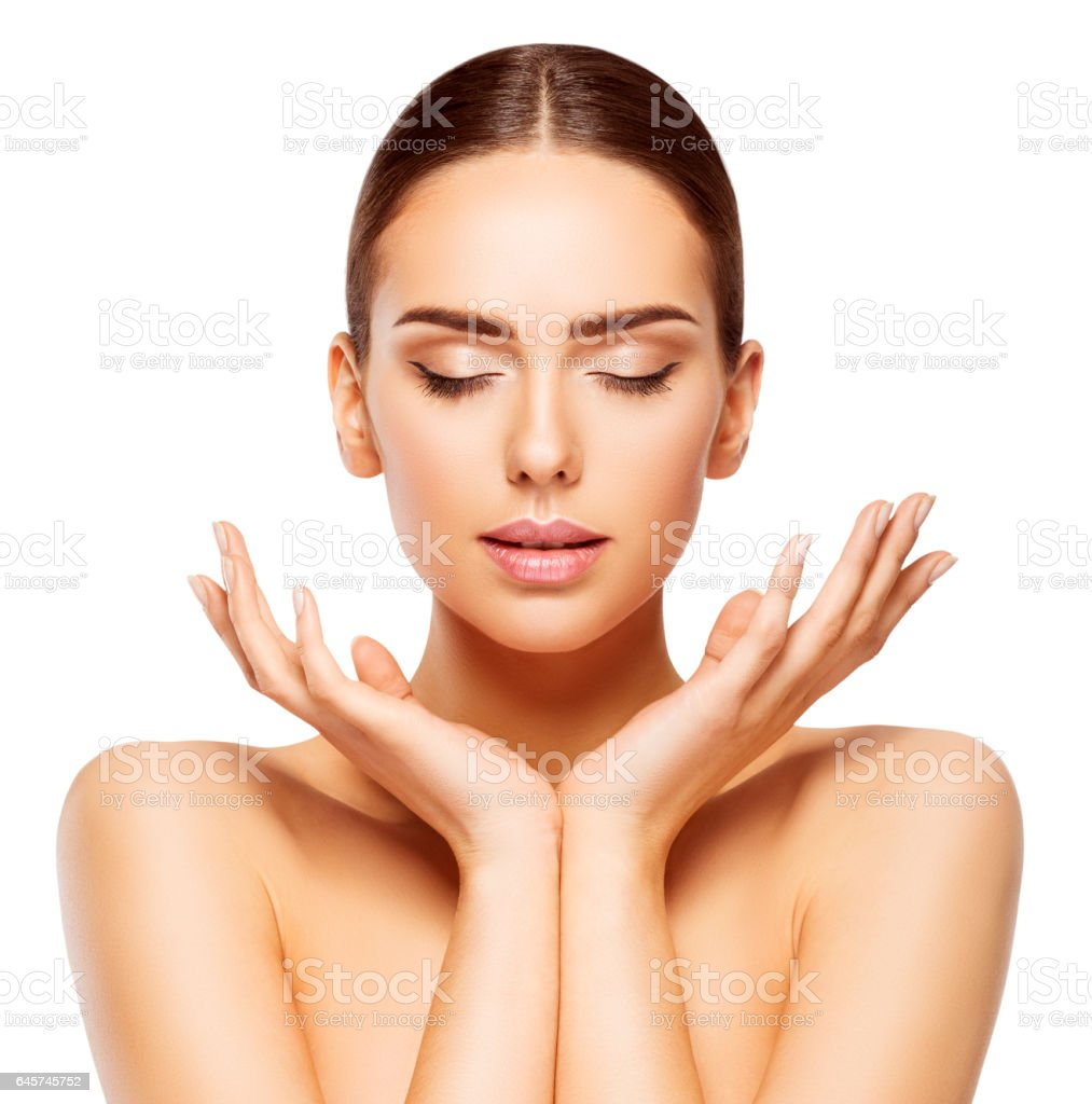Woman Face Hands Beauty, Skin Care Makeup Eyes Closed, White stock photo