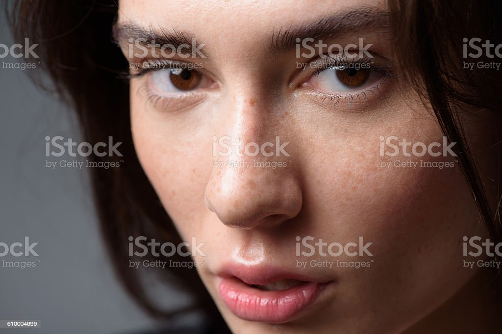 woman face on light grey background stock photo