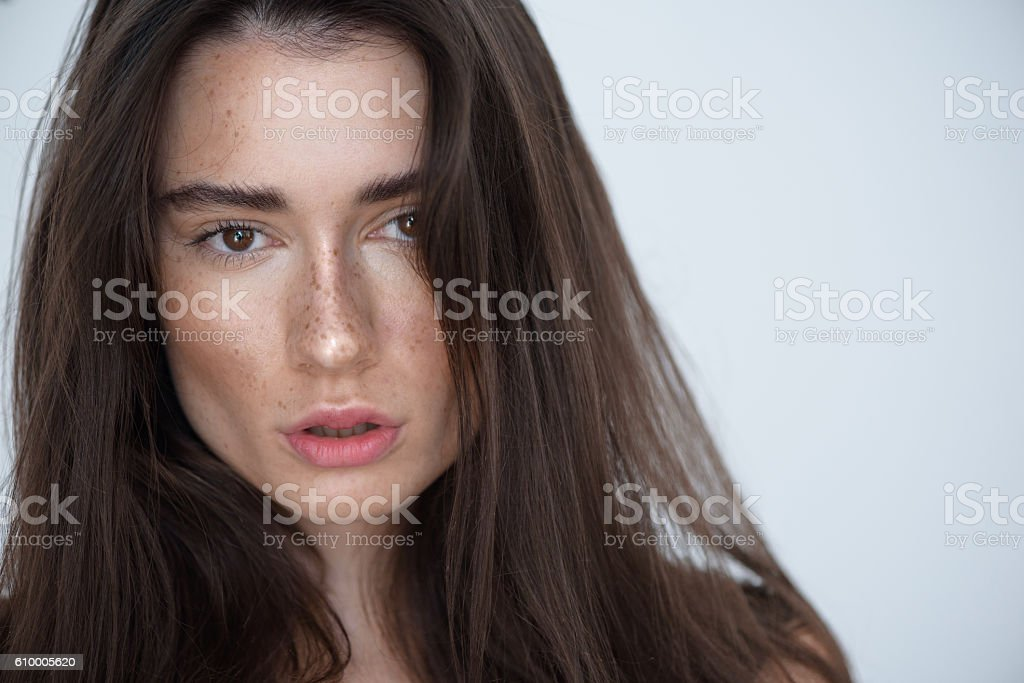 woman face on light grey background with copyspace stock photo