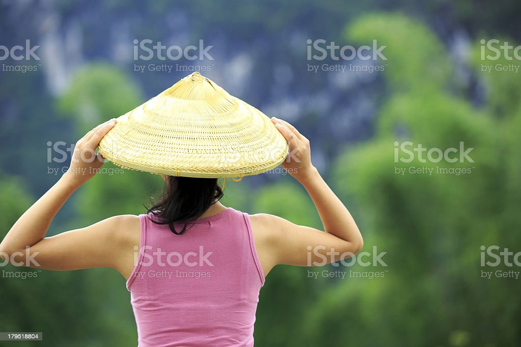 woman face the guilin scenery stock photo