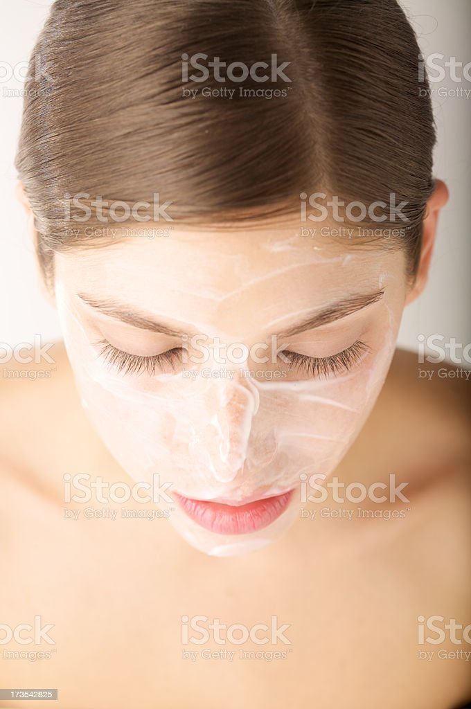 Woman face with moisturizer hydratation cream royalty-free stock photo