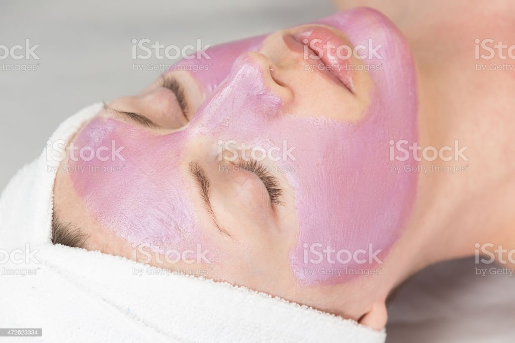 woman face-pack stock photo