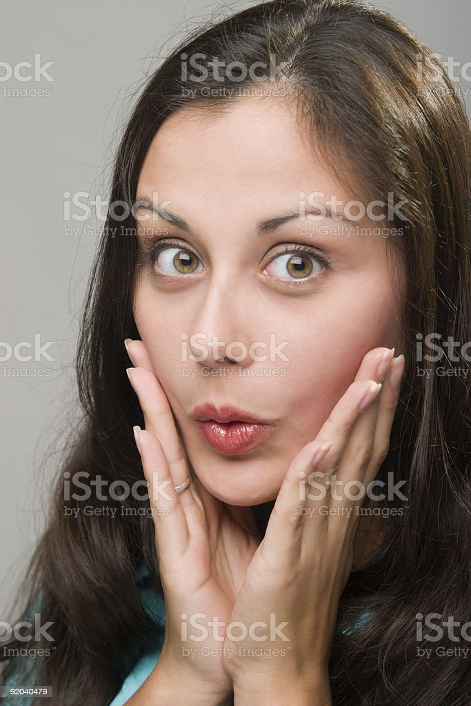Woman Facial Expression Of Surprise Or Shock royalty-free stock photo