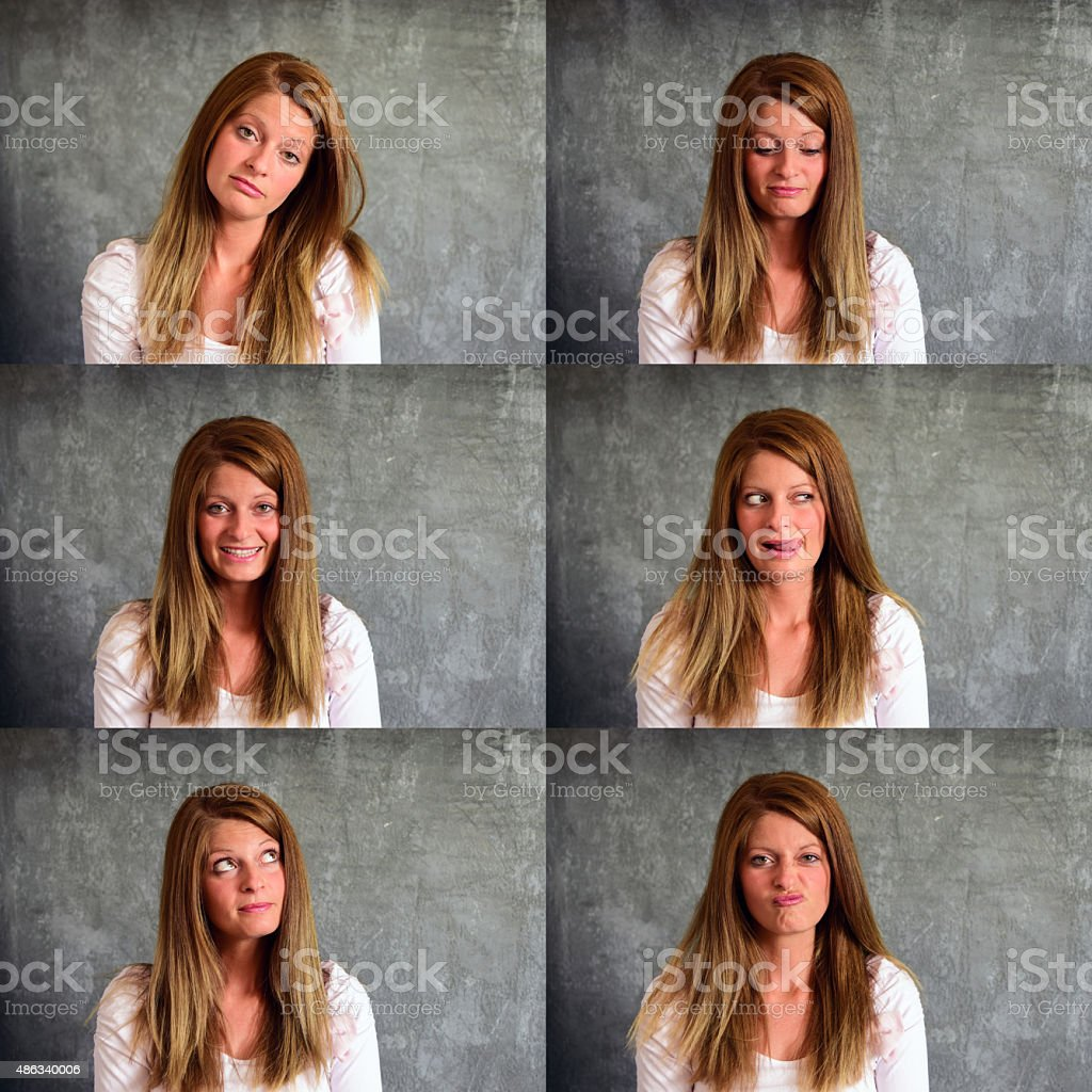 Woman facial expressions stock photo