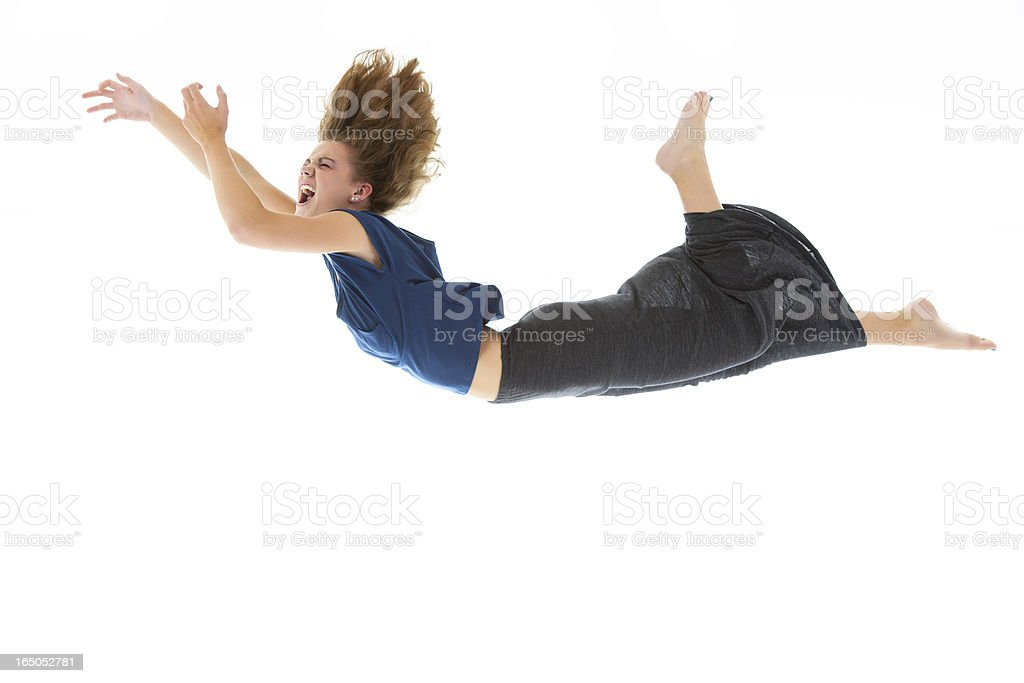 Woman falling (isolated on white) stock photo