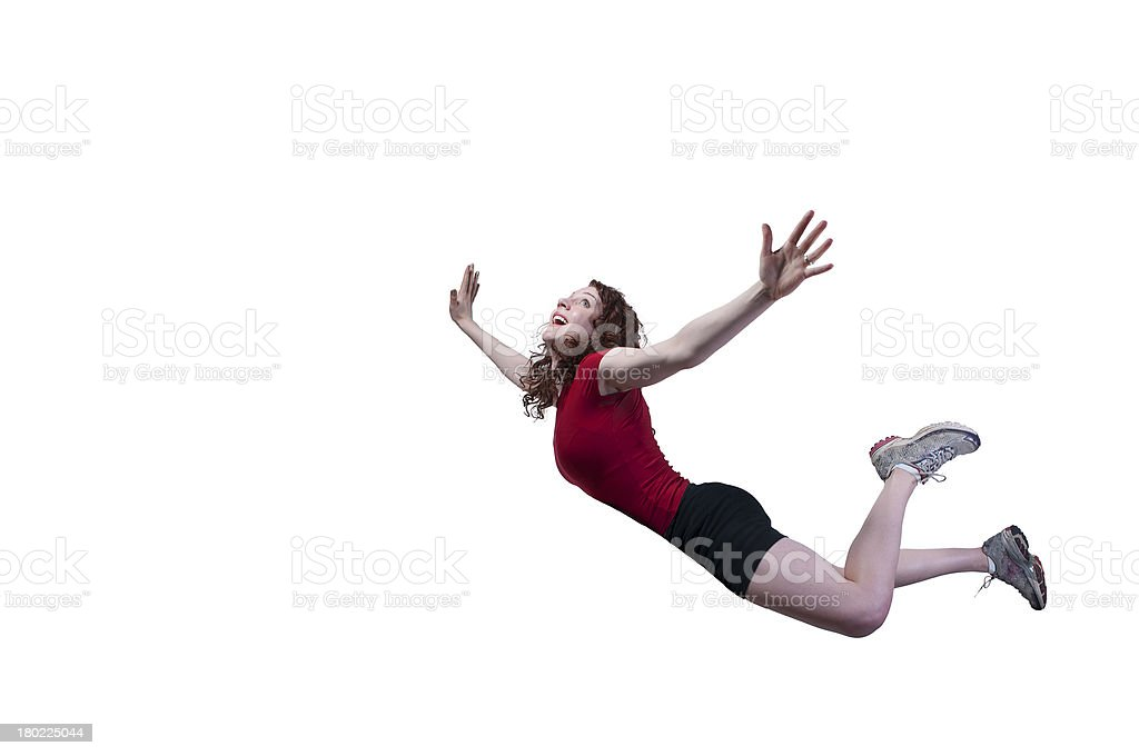 Woman Falling Through the Sky royalty-free stock photo