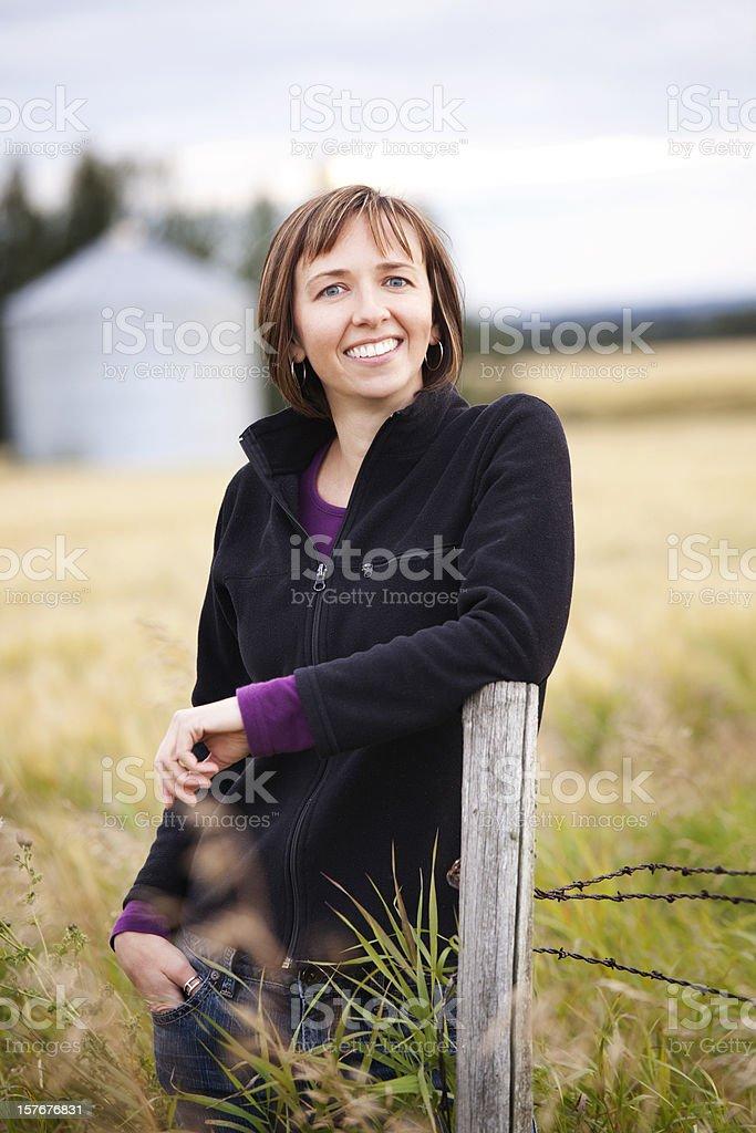 Woman Farmer In Field stock photo