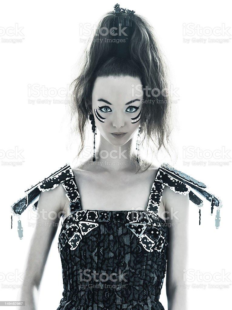 woman fashion black silk summer dress royalty-free stock photo