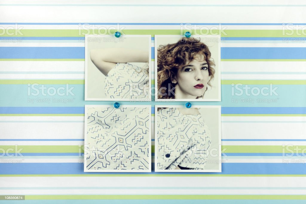 Woman Fashion Portrait Pinned on Wallpaper royalty-free stock photo