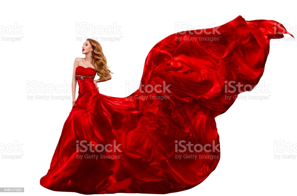 Woman Fashion Red Dress, Gown Waving on Wind, Flying Fabric stock photo