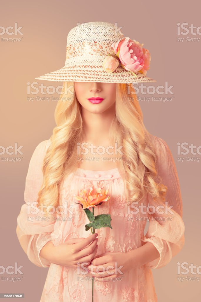 Woman Fashion Straw Hat, Peony Flower stock photo