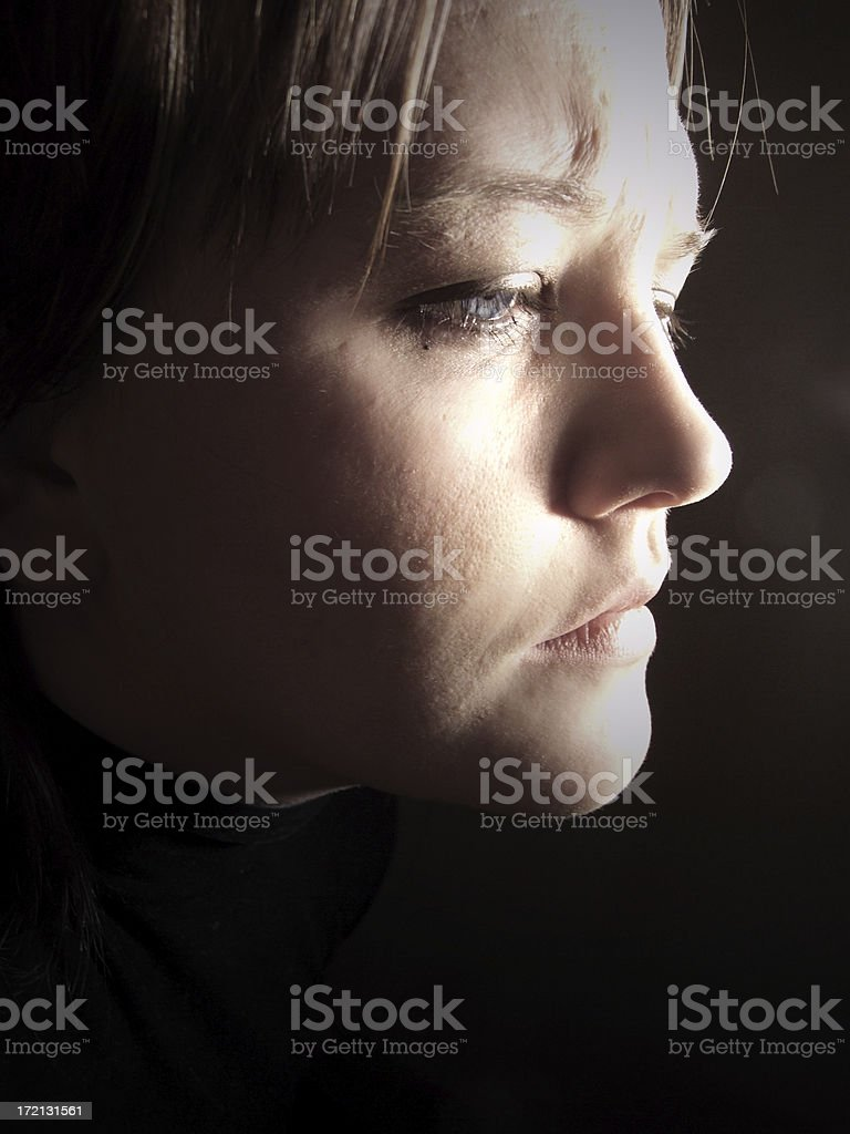 Woman feeling alone, grief or depression royalty-free stock photo