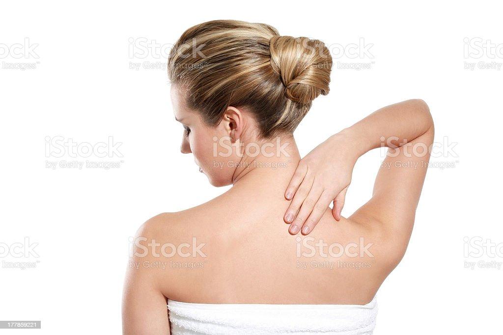 woman feeling backace royalty-free stock photo