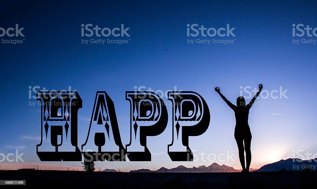 Woman feeling free . stock photo