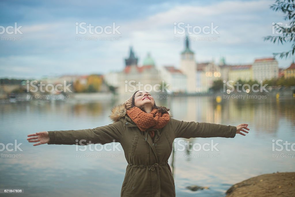 Woman feeling free stock photo