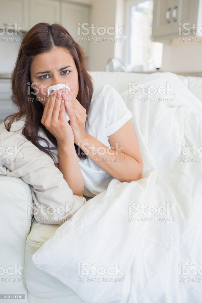 Woman feeling sick stock photo