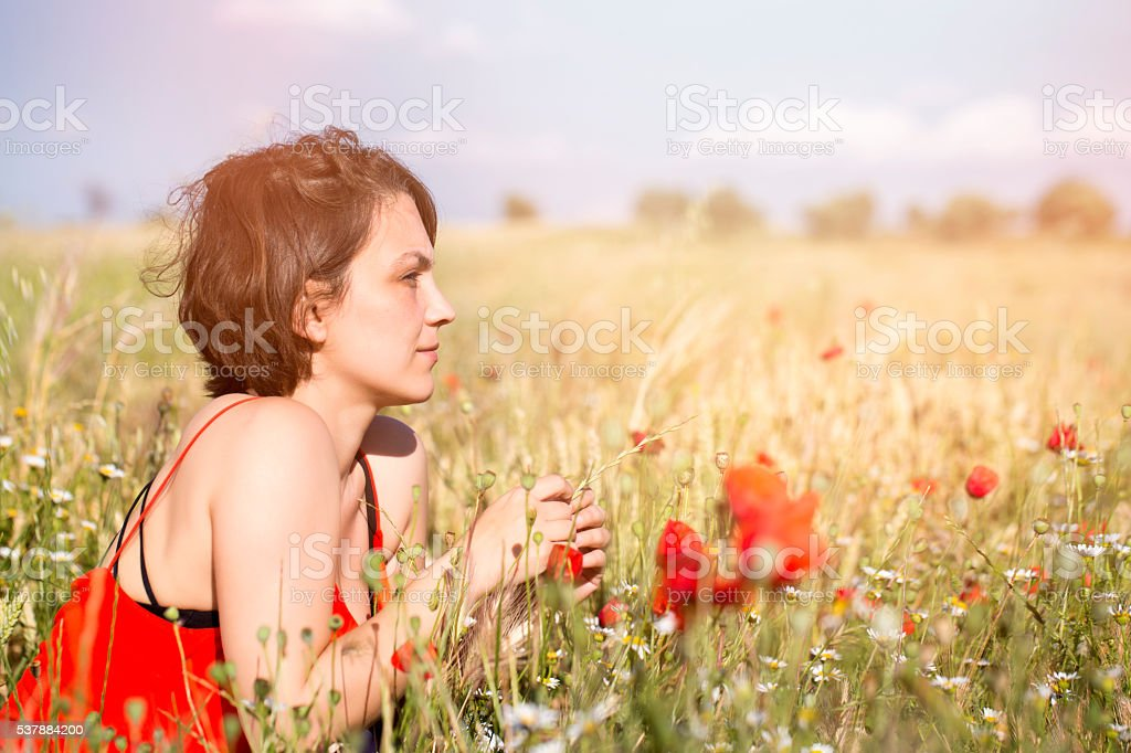 woman feeling the nature stock photo
