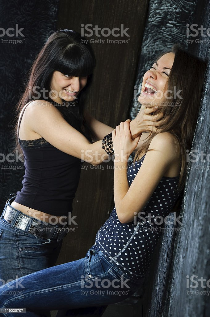 woman fight. Competitors struggle royalty-free stock photo
