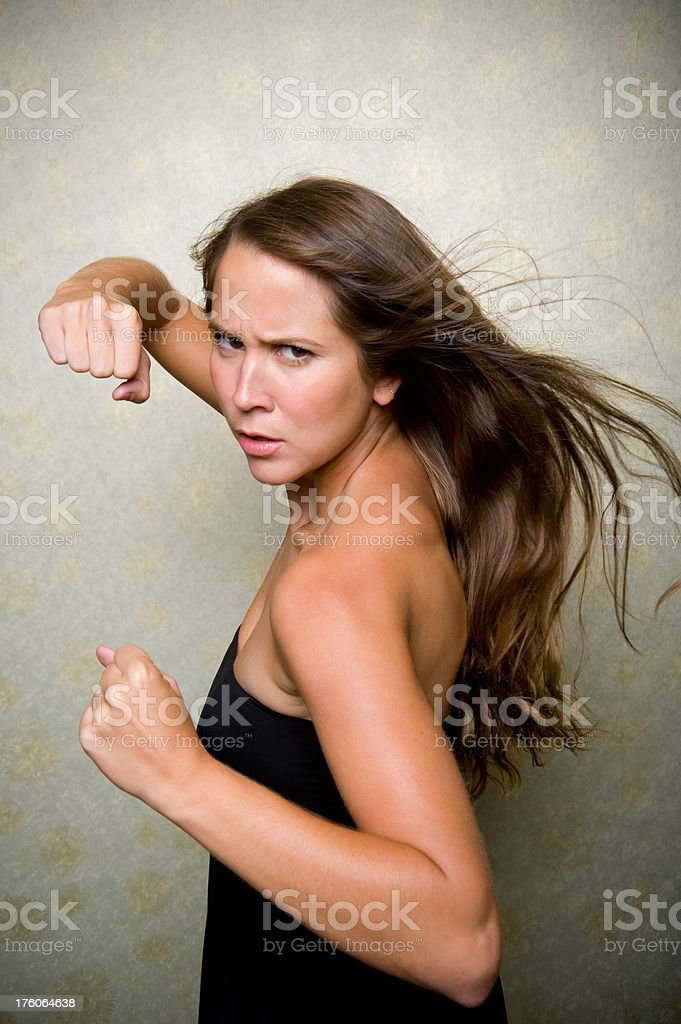 Woman Fighter stock photo