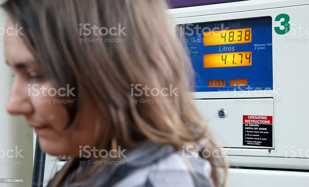 Woman filling up the car pump display focus royalty-free stock photo