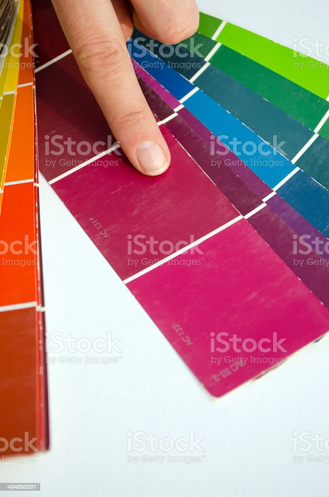 woman finger purple shades color palette guide royalty-free stock photo