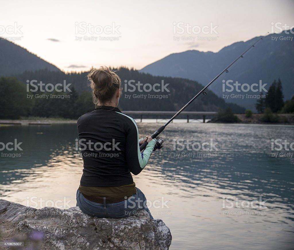 Woman Fishing stock photo