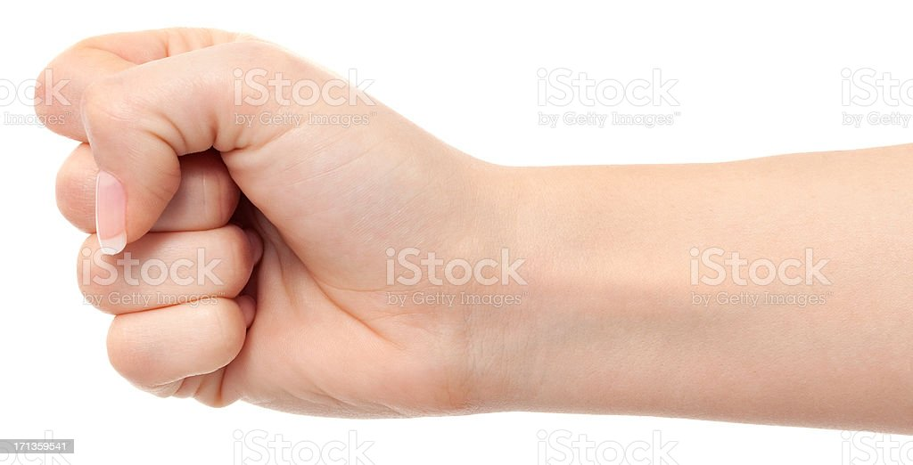 Woman fist on white stock photo