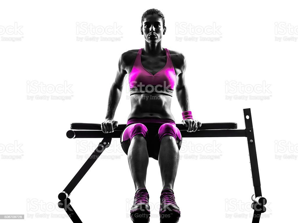 woman fitness push-ups exercises silhouette stock photo
