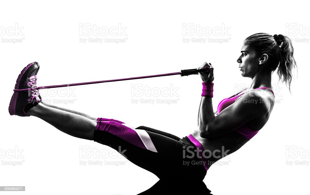 woman fitness resistance bands exercises silhouette stock photo