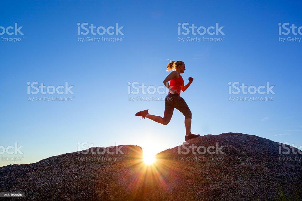 woman fitness sunshine nature stock photo