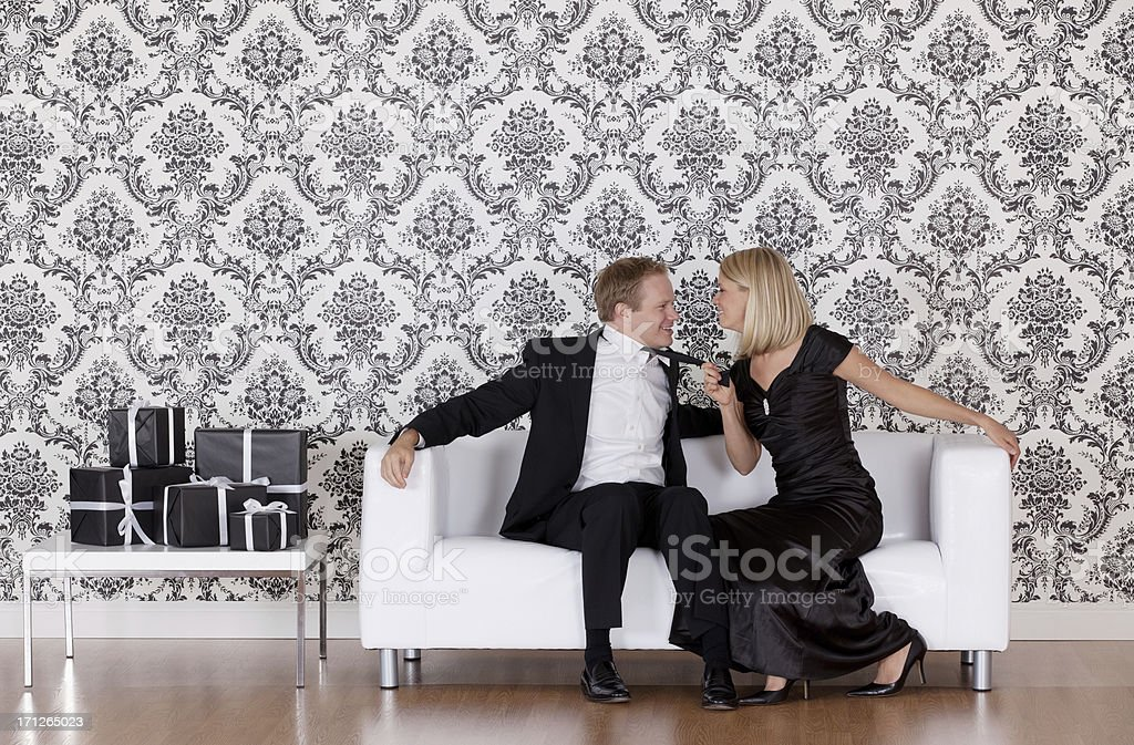 Woman flirting with a man royalty-free stock photo