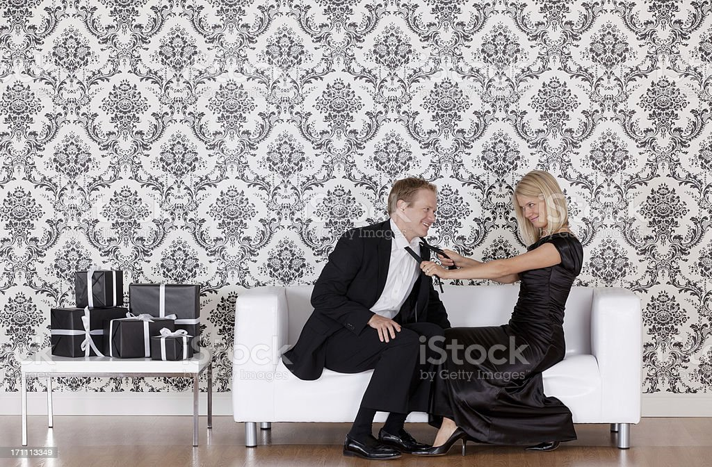 Woman flirting with her boyfriend royalty-free stock photo