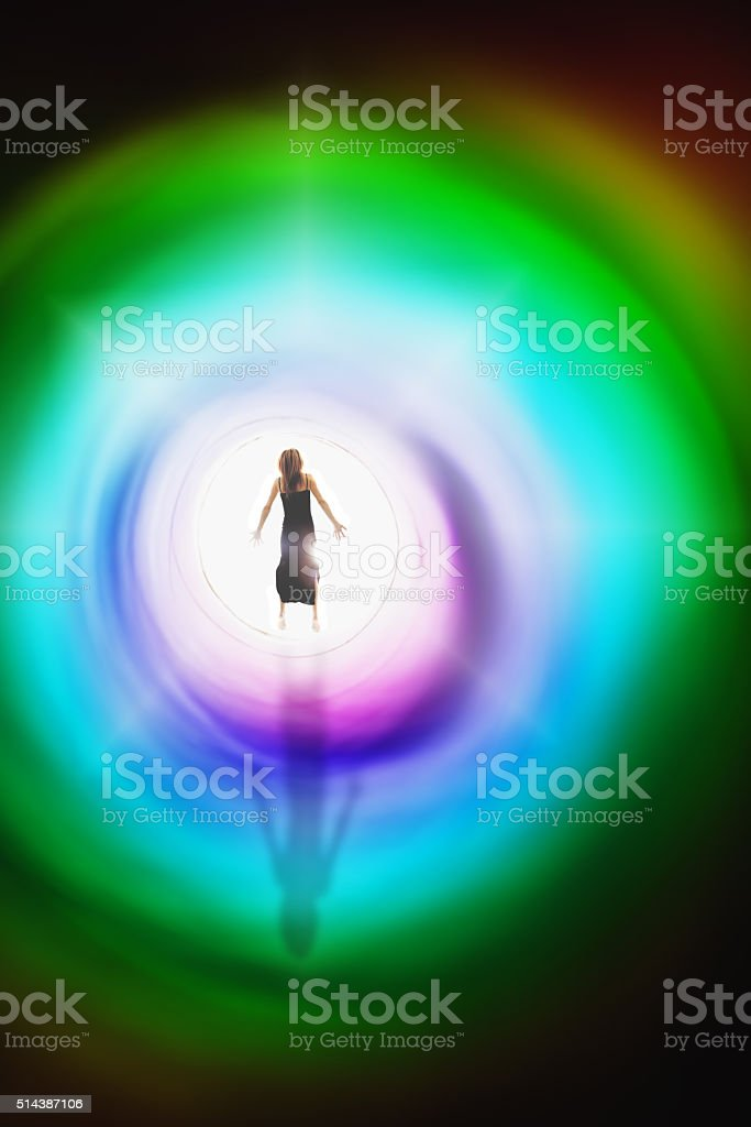 Woman Floating In A Dream Concept stock photo