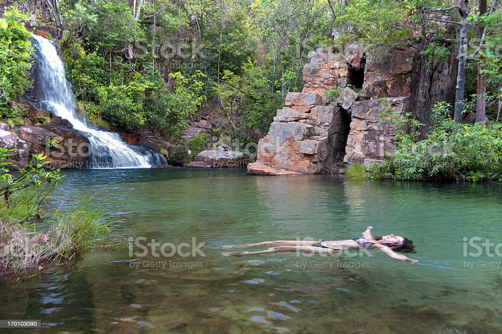 Woman floating stock photo