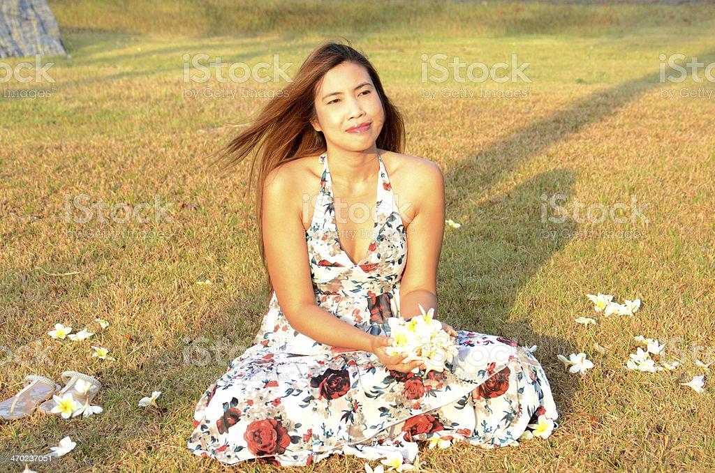 Woman flow white flowers stock photo