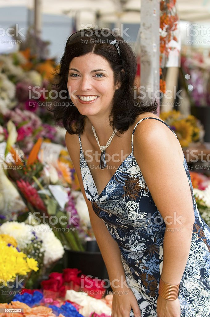Woman Flower Shopping royalty-free stock photo