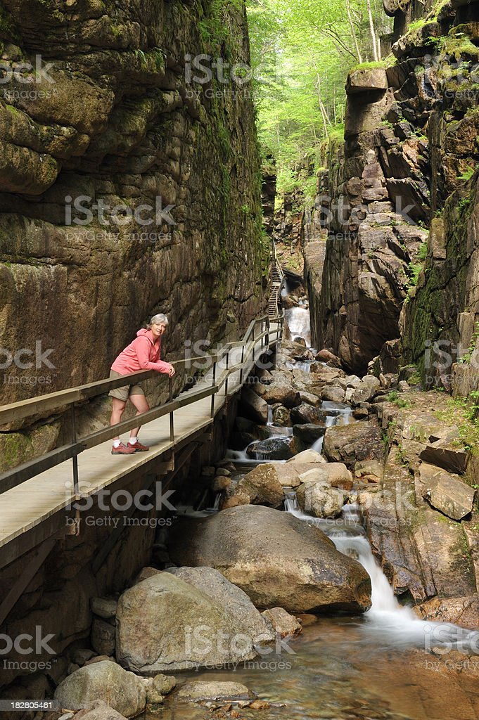 Woman, Flume Gorge, Franconia Notch State Park, New Hampshire royalty-free stock photo