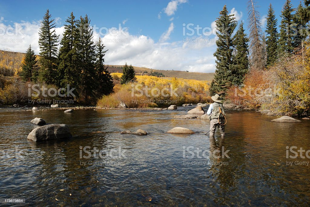 A woman fly fishing in a serene lake stock photo